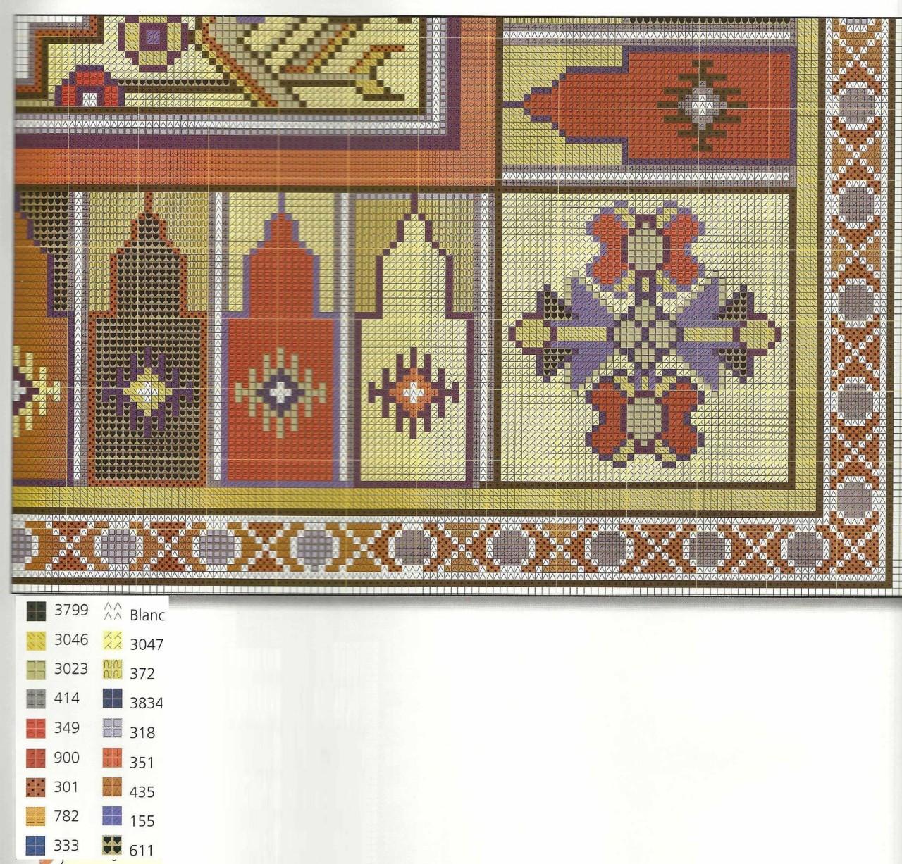 Подушки в восточном стиле - вышивка крестом схема 4