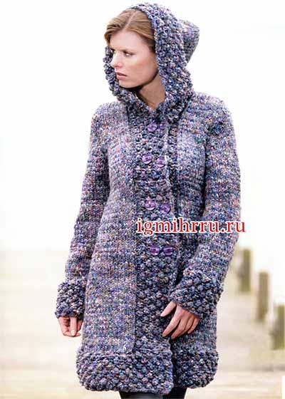 пальто с капюшоном из твидовой пряжи