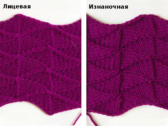 Двухсторонние узоры спицами
