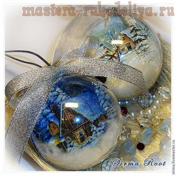 Новогодние шарики. Мастер-класс по декупажу на стекле