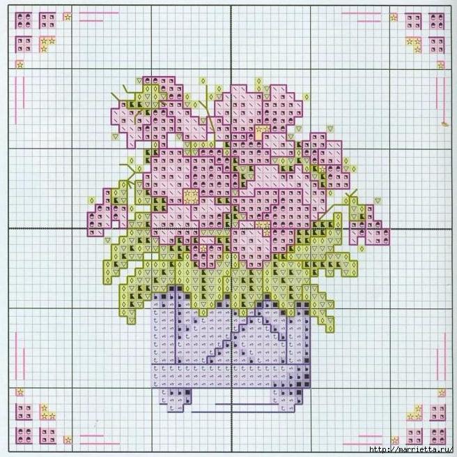Схемы миниатюрной вышивки. ЦВЕТЫ (3) (656x655, 359Kb)