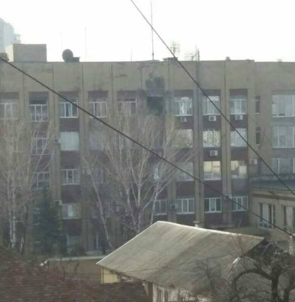 Атака на штаб корпуса в Донецке