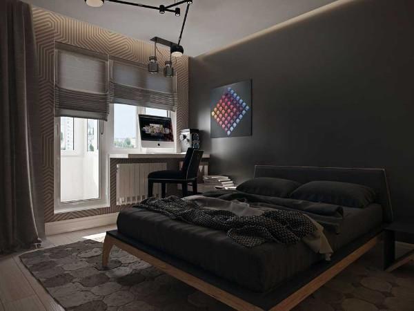 сочетание цветов в интерьере спальни чёрно-коричневый дизайн