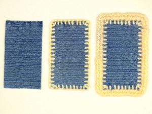 Как обвязать толстой пряжей кусочки джинсовой ткани: видеоурок
