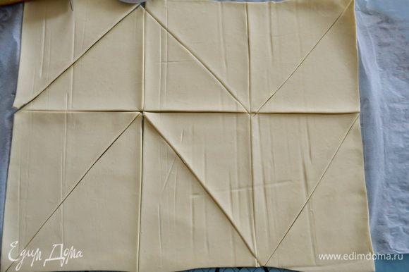 Слоеное тесто немного раскатать и нарезать на треугольники...