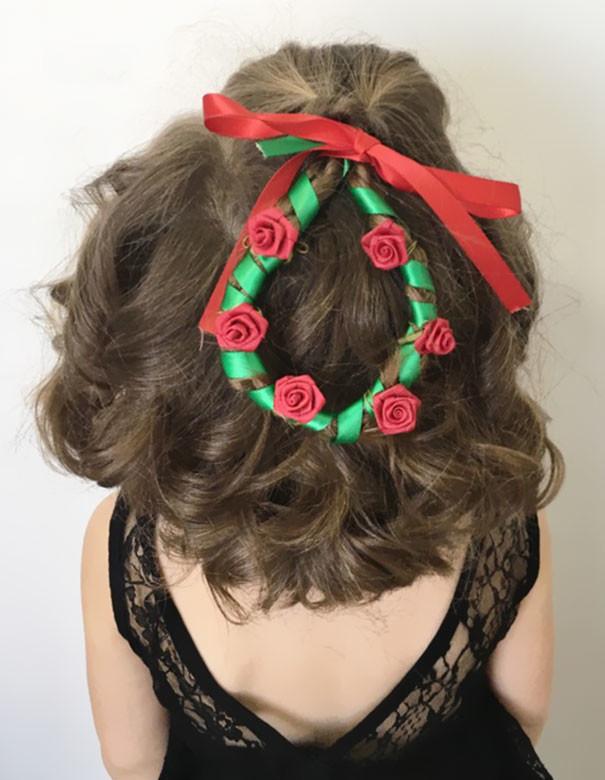 49. Рождественский венок волосы, праздник, прическа, рождество