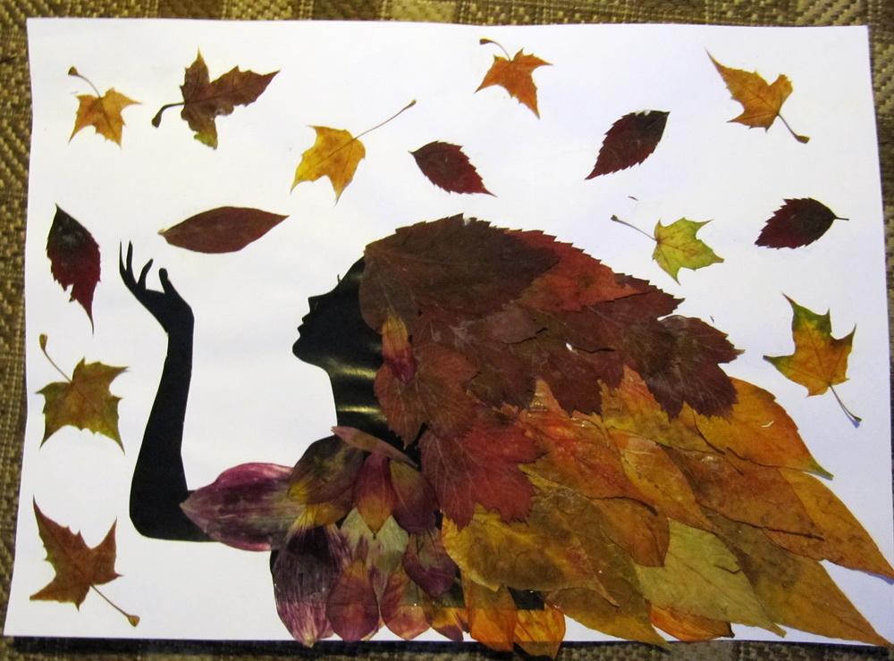 Девушка осень из листьев поделка