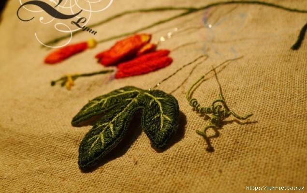 Цветы объемной вышивкой гладью. Красивые работы (12) (635x399, 179Kb)