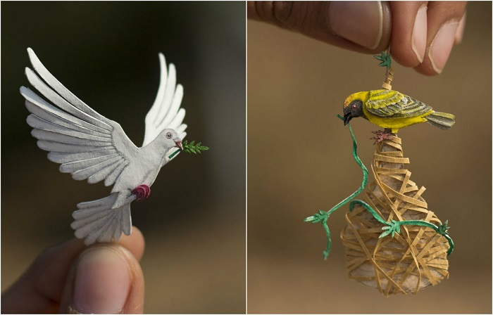 Индийские художники делают из бумаги реалистичные трёхмерные фигурки птиц размером меньше дюйма