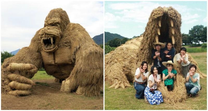 Гигантские животные из соломы с фестиваля Wara Art в Японии