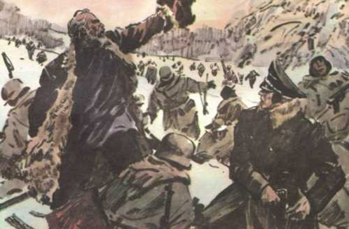 Иллюстрация к рассказу о подвиге Матвея Кузьмина.