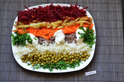 Салат радуга рецепт пошагово с мясом