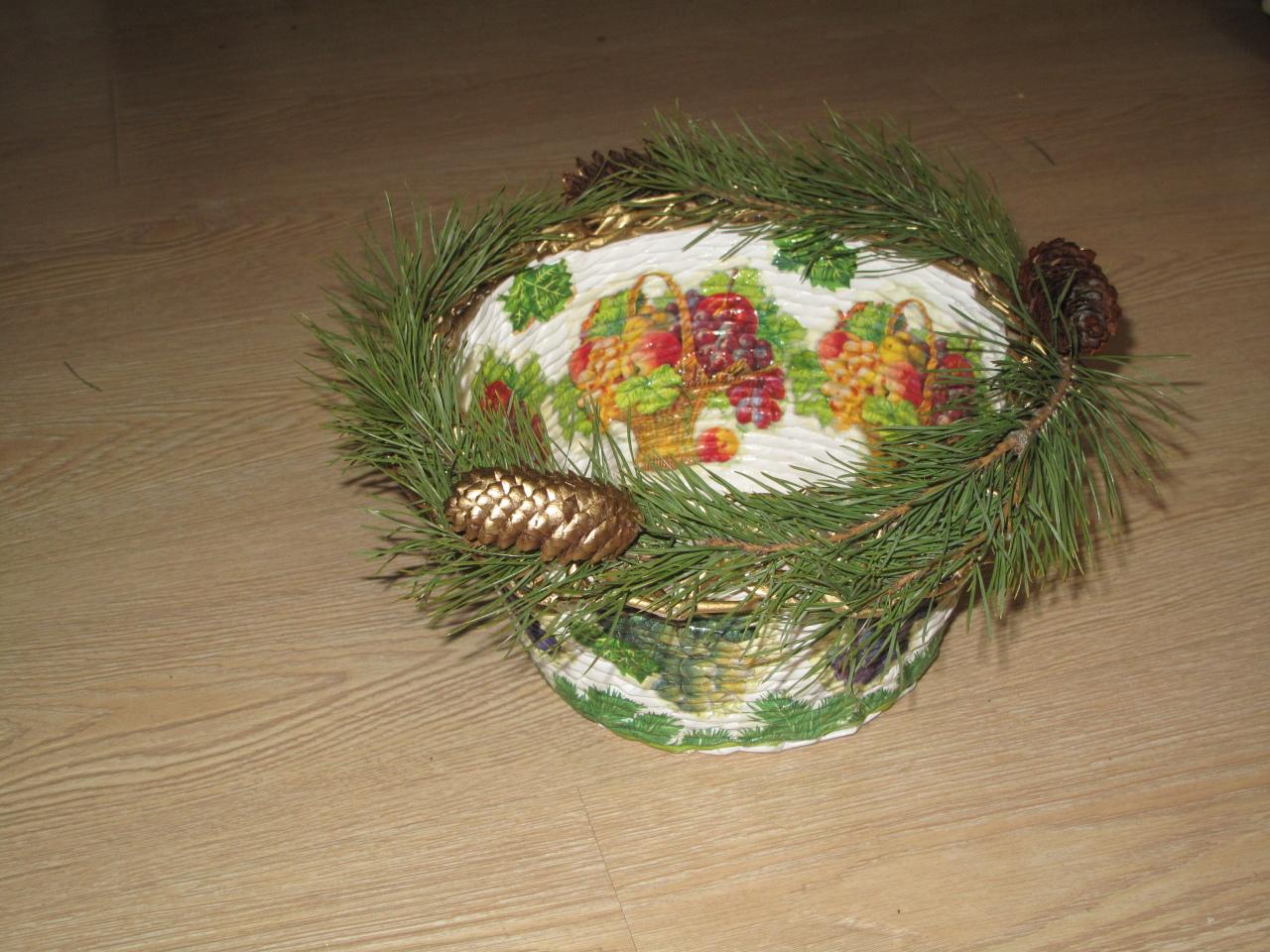 Праздничная новогодняя корзина (УПАКОВКА ДЛЯ ПРЕЗЕНТОВ)