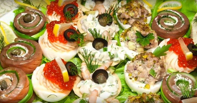 Закуски с морепродуктами