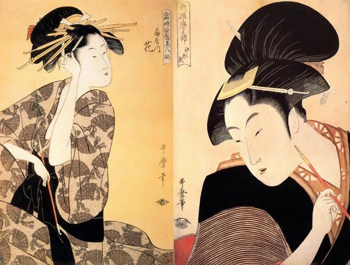 Утамаро изображал гейш, занятых обычными делами.