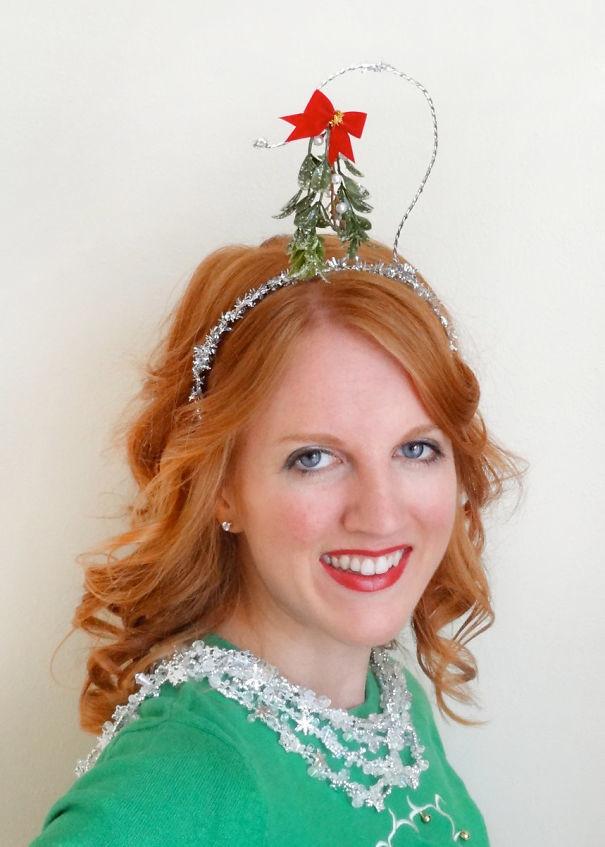 51. Омела волосы, праздник, прическа, рождество