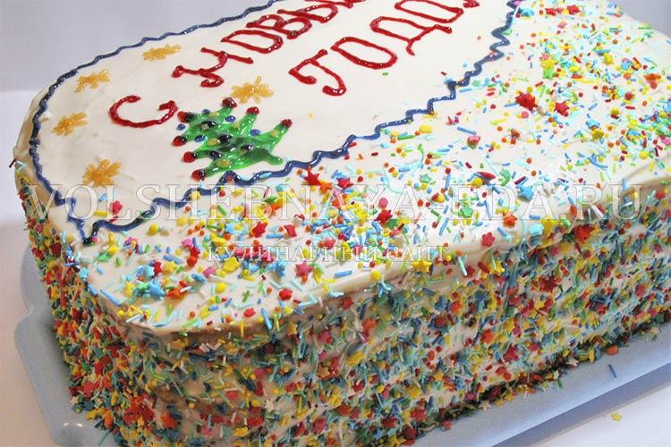 """Медовый торт с орехами и фруктами """"С новым годом"""""""