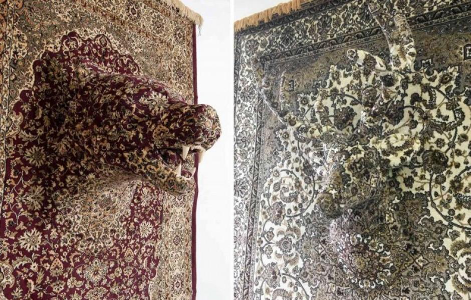 Скульптуры животных из ковров