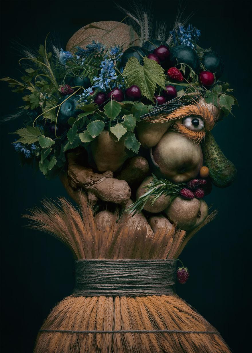 Портреты из фруктов и овощей