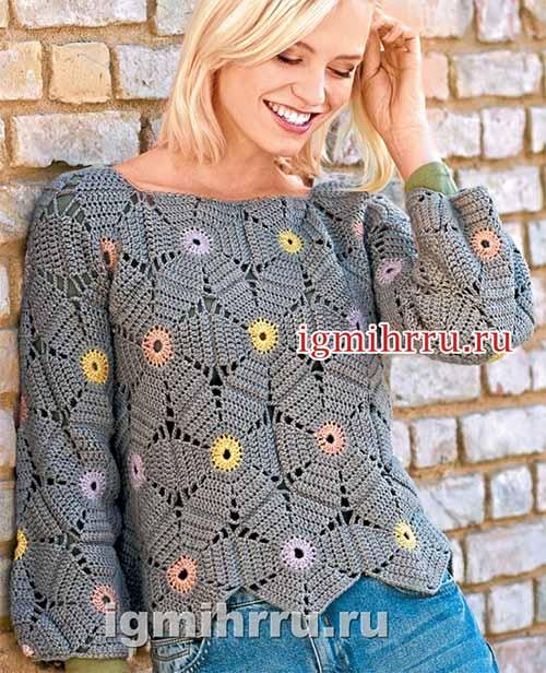 пуловер из цветочных шестиугольников