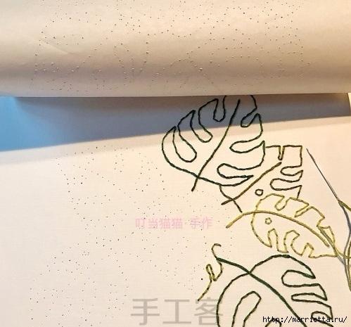 Панно с монстерой. Вышивка на бумаге (5) (499x465, 148Kb)
