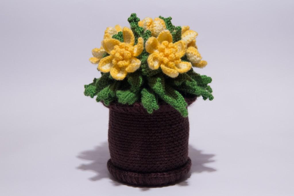 Вязание крючком цветок в горшочке 93