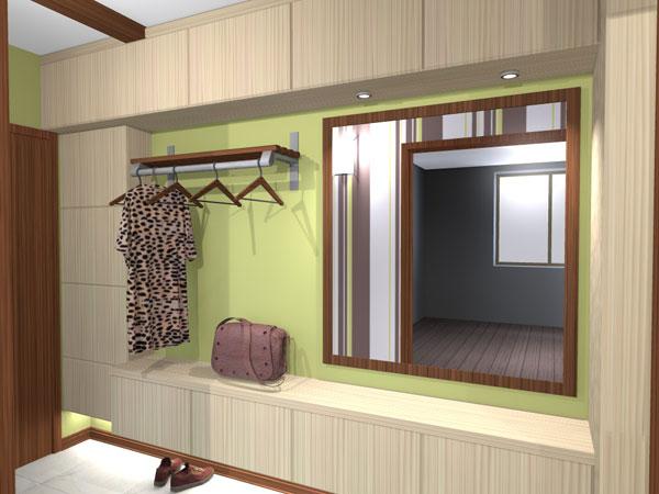 Стенка-прихожая встроенная в интерьер типовой квартиры. Александр Казаковский