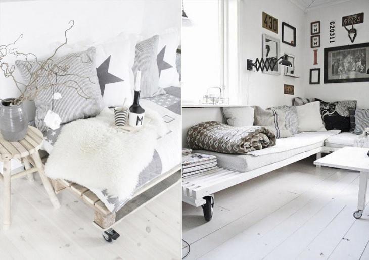 Палетная мебель на колесиках