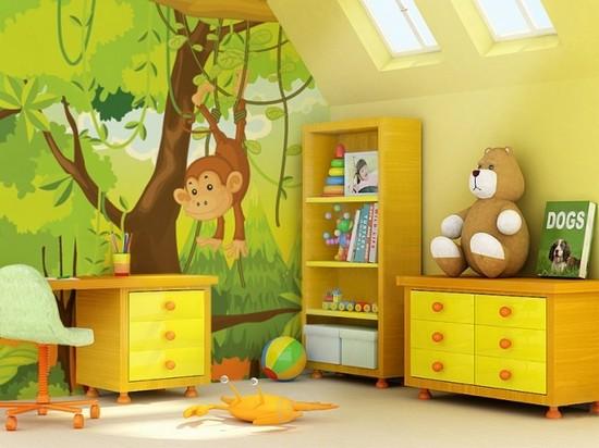 Комбинирование обоев в детской комнате фото