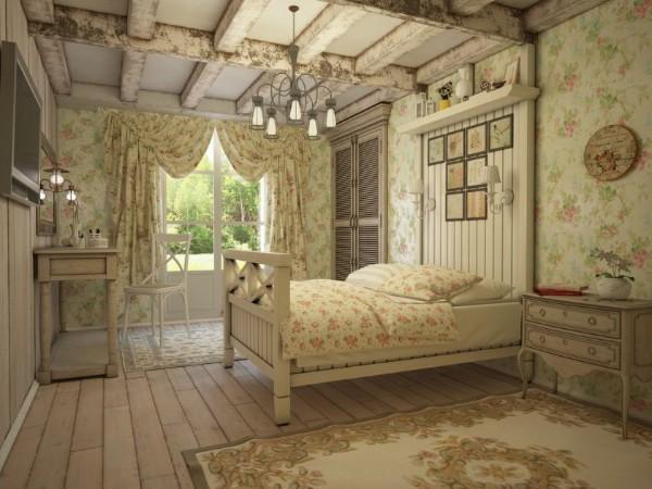 сочетание цветов в интерьере спальни прованс светло бежевый травяной