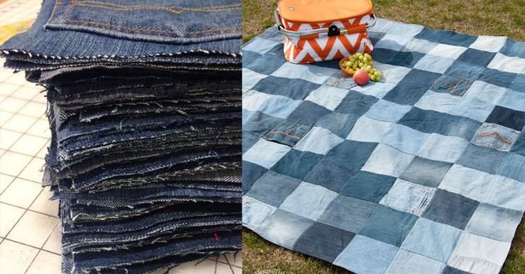 Как сделать удобное одеяло для пикника из старых джинсов