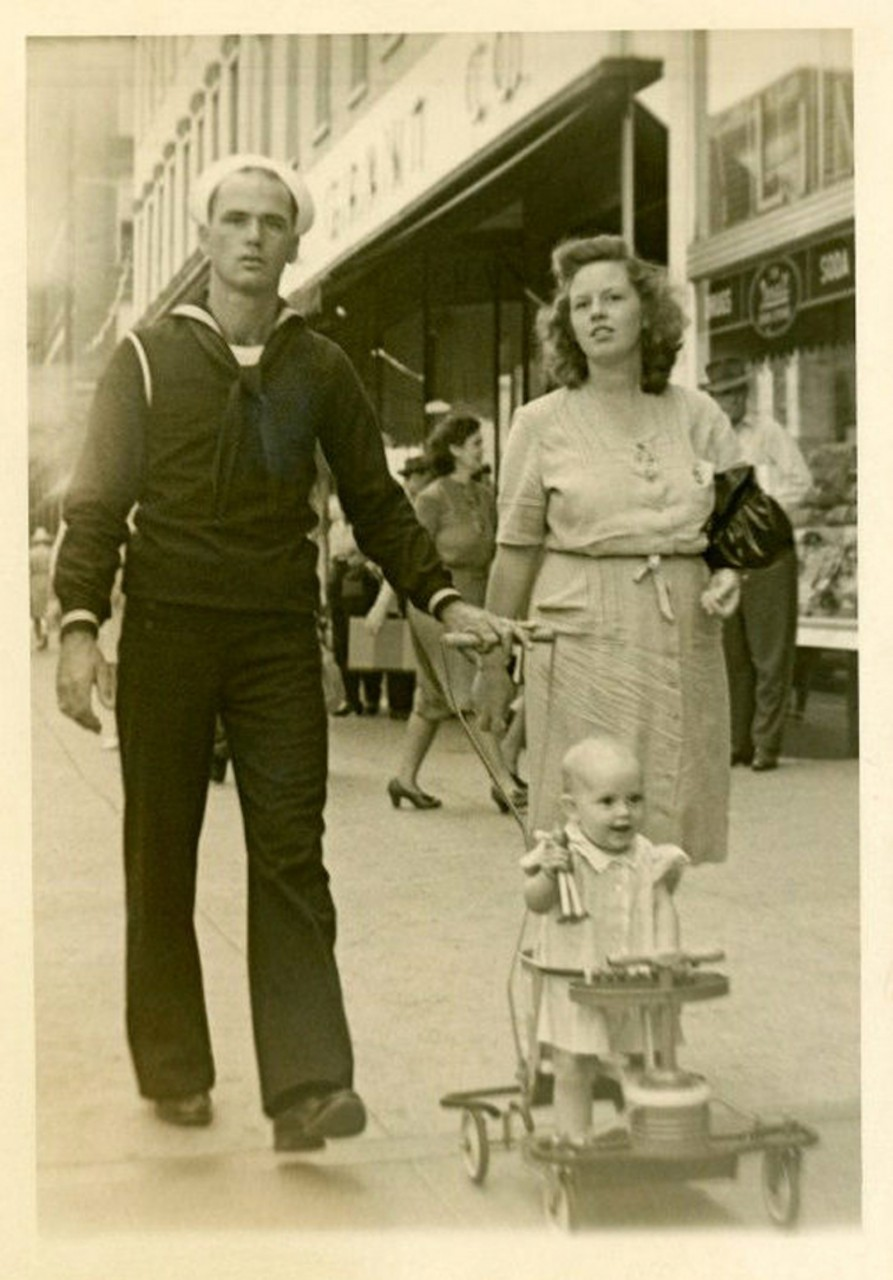 A Sailor Strolling with His Family, ca. 1940s