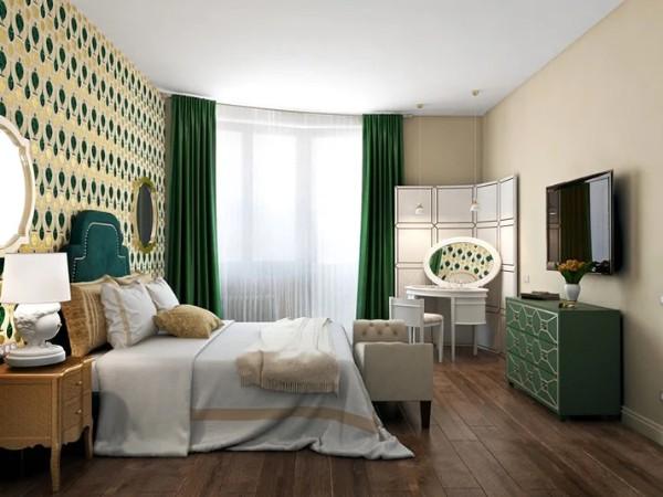 сочетание цветов в интерьере спальни бежевый с изумрудными акцентами