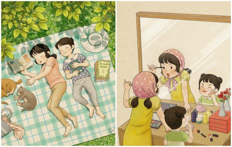 Какая она - жизнь с сестрой? Тёплые иллюстрации корейской художницы