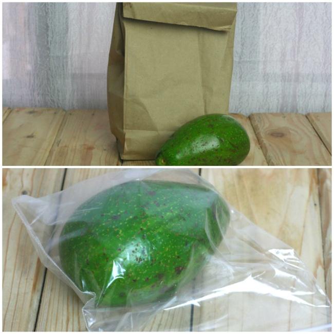Авокадо кладем в бумажный пакет