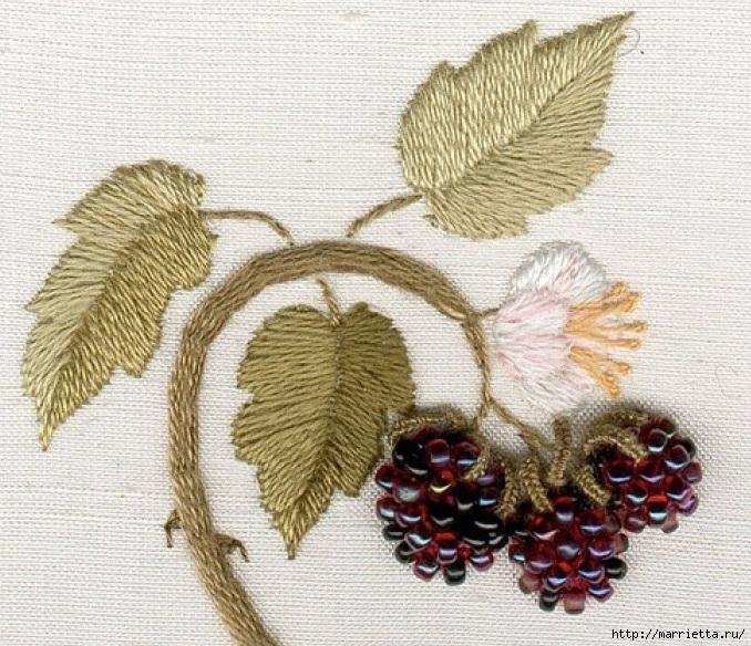 Цветы объемной вышивкой гладью. Красивые работы (4) (678x584, 345Kb)