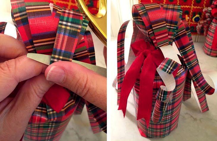 новогодняя упакова бутылки в подарок из бумаги 08
