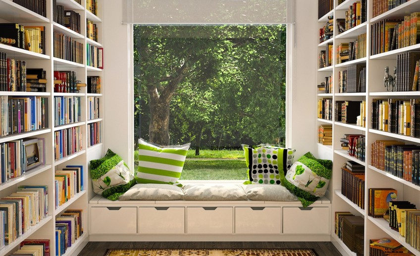 Usual window seat library reading nook