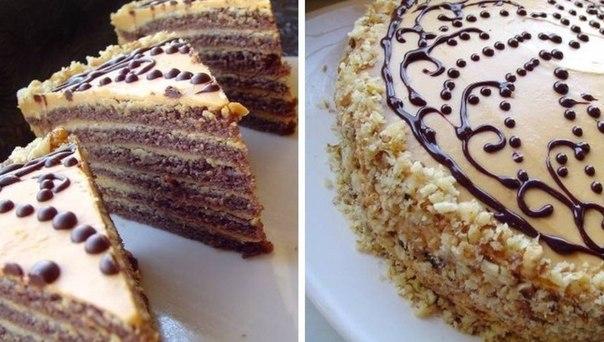 """""""Шоколадный торт со сливочным кремом со сгущёнкой"""""""