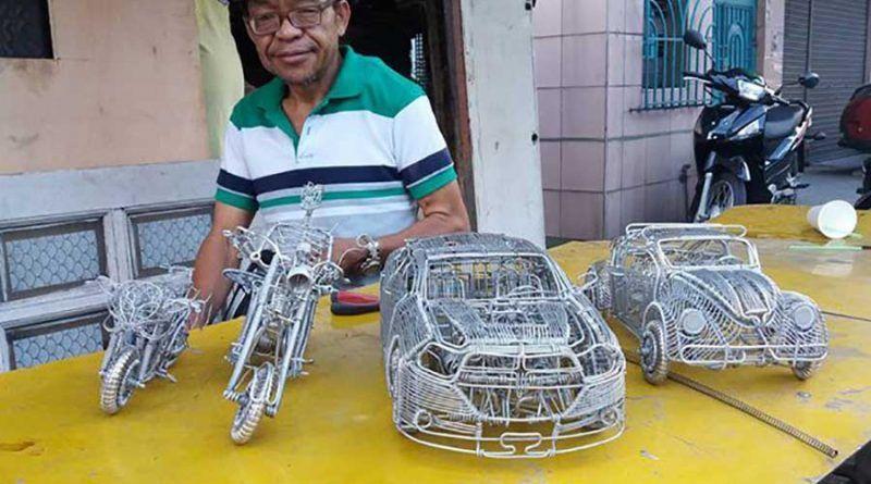 Скульптуры автомобилей из проволоки филиппинского самоучки
