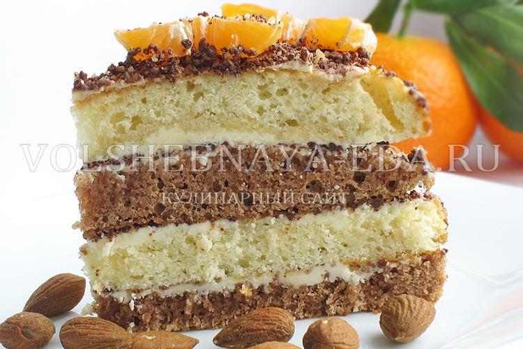 Торт «Бисквит с мандаринами»