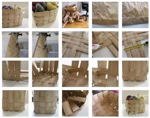 Как сделать плетёную корзинку из бумаги 749