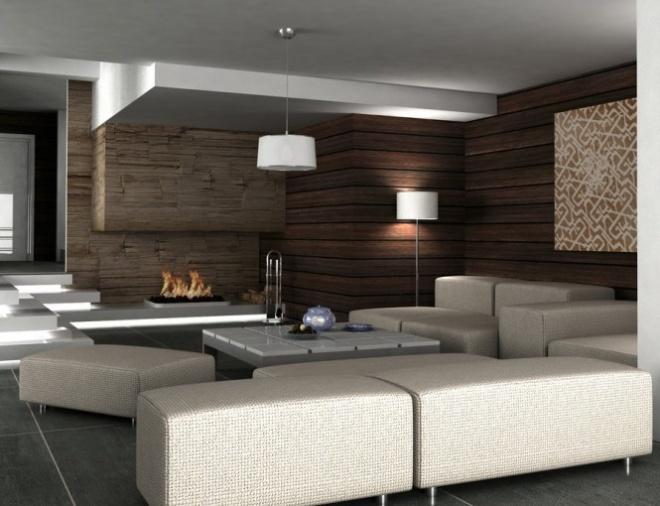 дизайн гостиной в коричневых тонах - Оформление гостиной - Фотографии - Современный дизайн интерьера