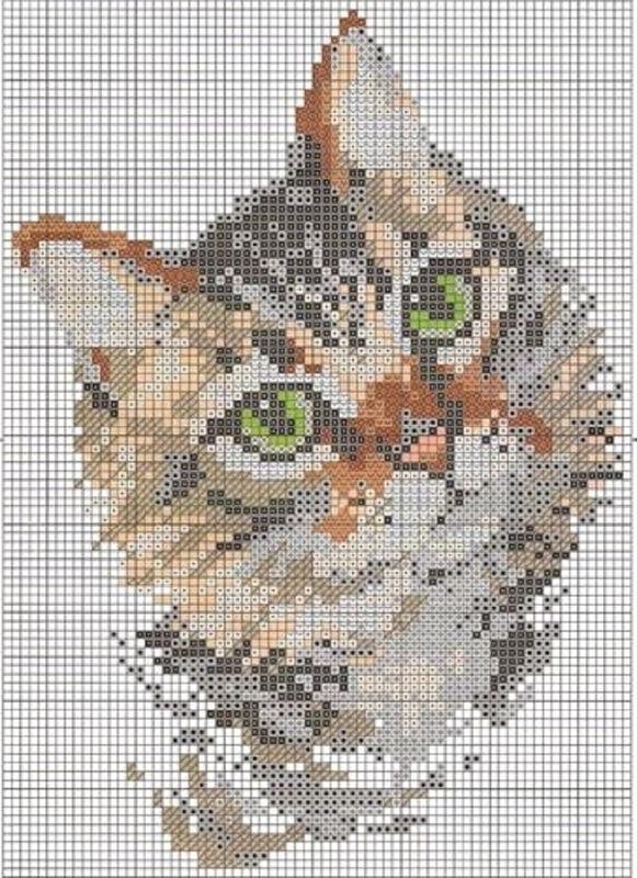 Вышивка крестиком котов и котят (схемы) - Котеко 45