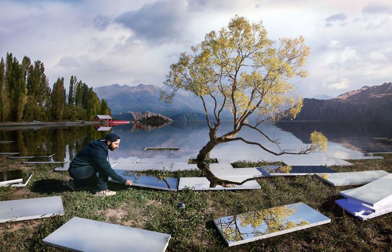 Художник забавно обыгрывает известные пейзажи