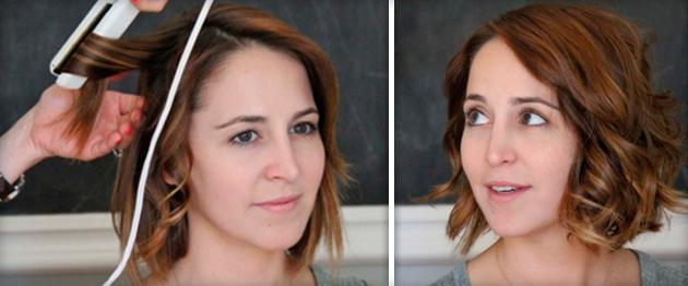 Как сделать прическу выпрямителем на коротких волосах