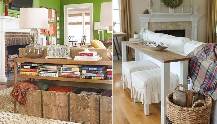 Способы объединения дивана, стола и стульев.