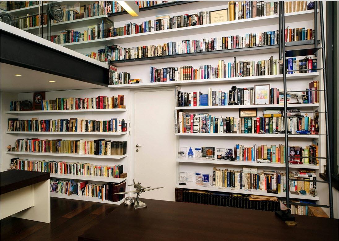 Стена, обшитая книжными полками