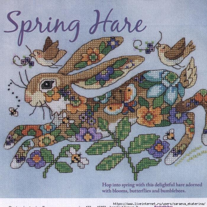 Готовимся к Пасхе. Схемы для вышивки крестом «Весенний заяц»