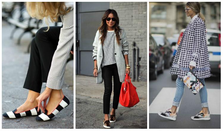 Стиль Casual для женщин, фото. Обувь на плоском ходу